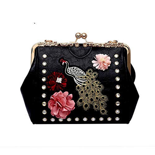 GMYANDJB Handmade Flowers Frame Handbags Peacock Embroidery Vintage Lady Leather Shoulder Crossbody Bag for Women Small Hasp Shell Purses