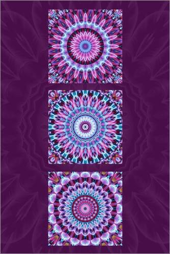 POSTERLOUNGE Cuadro Sobre Lienzo 20 x 30 cm: Mandala Collage Purple de Christine Bässler - Cuadro Terminado, Cuadro Sobre Bastidor, lámina terminada Sobre Lienzo auténtico, impresión en Lienzo
