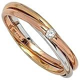 JOBO Damen-Ring 585 Gold Weißgold Rotgold Gelbgold 1 Diamant-Brillant 0,06ct. Größe 56