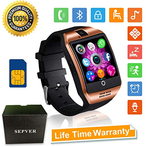 SEPVER Smartwatch Bluetooth Smart Watch SN06 mit Touchscreen Kamera SIM-Karte Slot Fitness Tracker Sport Uhr für Samsung LG Sony Huawei Xiaomi Android Phones iPhone ios für Damen Herren Kinder (Gold) (Gold Watchs Für Kinder)
