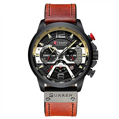 UINGKID Herren Uhr analog Quarz Armbanduhr wasserdicht Uhren Business Gürtel Uhr Kalender lässig Quarz DREI Augen Uhr
