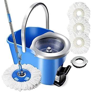 Enya easy spinning mop with bucket  3 mop heads microfiber a scrubber floor mop