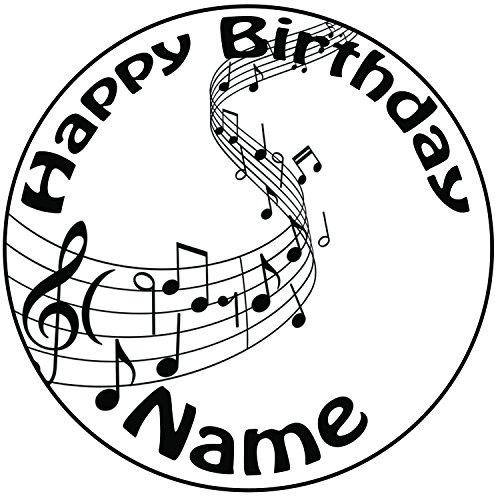 personnalisé gâteau de notes de musique–Une prédécoupée ronde Décoration de glaçage 20,3cm (20cm)