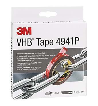 3M VHB 4941 Hochleistungs-Klebeband, 19 mm x 3 m, Grau, Schutzabdeckung: Papier (1-er Pack)