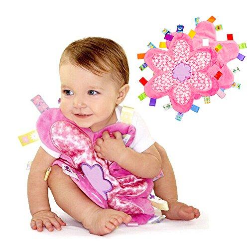 INCHANT Soft Touch Tröster Decke mit Taggies - Tag Tröster / Comfort Decke, großes Geschenk für Baby-Kleinkind (Blumen Taggie Decke, 2er-Pack)
