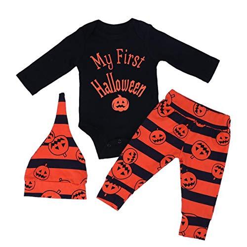 Chennie 2 stücke mädchen Boy Halloween Outfit Set Langarm Bodysuit kürbis Hosen Kappe pjs Set (Color : Black+Orange, Size : 3-6M)