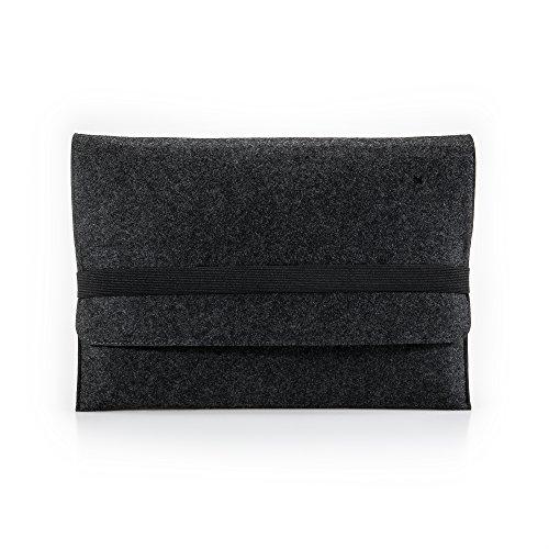 "FORMGUT® MacBook Pro Tasche Filz 13,3 Zoll // Laptoptasche, Laptop Sleeve, Notebook Hülle, Businesstasche, Computertasche farbig, umweltfreundliche Schutztasche // 13,3"" Dunkelgrau Schwarz"
