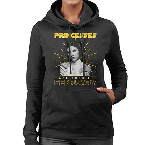 Star Wars Leia Princesses Are Born In February Women's Hooded Sweatshirt Black