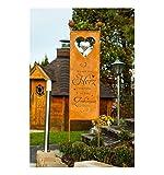 Metallmichl Edelrost XXL Gartenstecker/Sichtschutz Herz-Zuhause, Höhe 205 cm, Wo Sich Dein Herz wohlfühlt ist Dein Zuhause Garten-Schild aus rost Metall