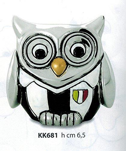 Gufetto soccer squadra juventus h cm 6,5 smaltato e argentato rifinito con scatola made in italy