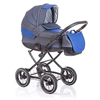 Anex Baby Classic 2 in 1 Kombi-Kinderwagen (jeans/blue leather)