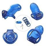 Freebily Keuschheitsgürtel Mann Peniskäfig mit 3 Cockring für Männer Keuschheit Einheitsgröße Blau One Size