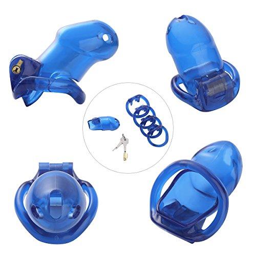 dPois Herren Cock Cage Penis Käfig Sexspielzeug Peniskäfig Keuschheitsgürtel mit Schloss und Schlüssel Keuschheitskäfig Keuschheitsgerät Männer Keuschheit in 7 Farben Blau One_Size - Herren-käfig
