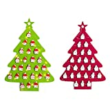 Takefuns dell' avvento a forma di albero con luci LED ornamenti natalizi da appendere alla parete calendari Xmas Gift for Christmas Decorations, Panno, Red+green, red+green