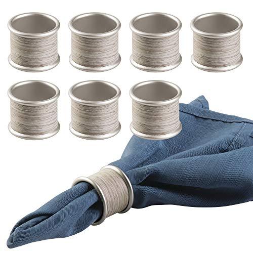 mDesign Ronds de serviettes - Set de 8 rond-serviettes - ronds idéals pour les serviettes en tissu - Couleur: satin, bois gris