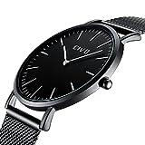 CIVO Herrenuhr Herren Damen Unisex Uhren Ultra Dünne Minimalistische mit Edelstahl Mesh Armband Wasserdicht Luxus Mode Armbanduhr Elegant Geschäfts Beiläufig Quarz Uhren (1 Schwarz)