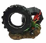 takestop® Reifen Rad Räder Felsen 18X 11X 12CM Garten Unterwasser Ornament für Aquarium Dekoration Deko Stein