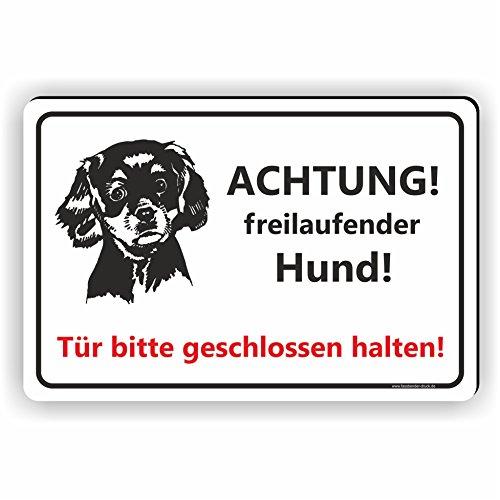 ACHTUNG! freilaufender Hund! / Tür bitte geschlossen halten / T-012 (15x10cm - Tür Hund Garage