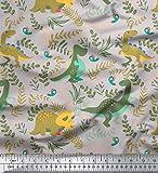 Soimoi Grau Baumwolle Ente Stoff Dinosaurier & Redwood Blatter gedruckt Craft Fabric 1 Meter 42 Zoll breit