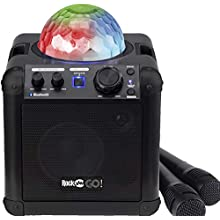 RockJam RJGO-BK GO Rechargeable Bluetooth Karaoke Speaker With Light Show & Microphone, Black