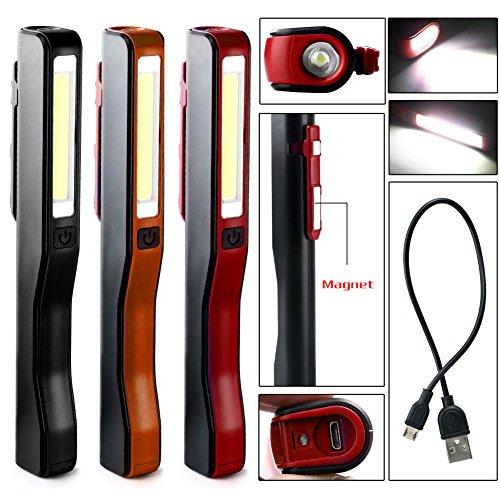3 Pack Enjoydeal Wiederaufladbare Ultrahell Tragbare 2in1(1W auf der Oberseite + COB 3W) LED Arbeitsleuchte/Taschenlampe mit Micro-USB (1 Pack), Ideal für Heim, Auto, Camping, Notfall-Kit, Werkstatt usw