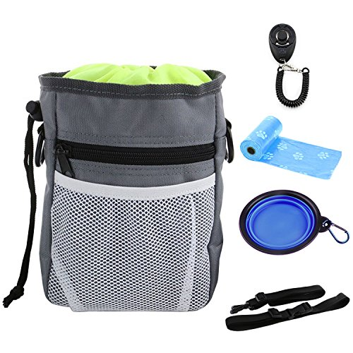 YAMI® Dog Treat Pouch Puppy Training kit with Adjustable Strap, One Training Clicker and One Collapsible Food Water Bowl & 2 Roll Poop Bags