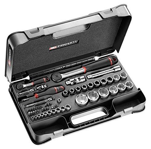 Facom Jeu de clés à douille 1/4'& 1/2' 6pans 55pièces avec 2cliquets et accessoires, à cliquet RS. 161-2