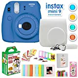 Fujifilm Instax Mini 9 Instant Camera w/Deco Gear Accessories & Film (Cobalt Blue)
