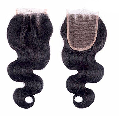 BLISSHAIR Extensions de cheveux humains tissage Noir naturel brésilien ondulés Fermeture de tissage sur le haut 100% cheveux vierges pour femme 4\\