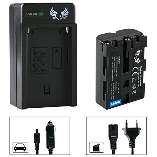 SK Akku Sony NP-FM500H 1650mAh + Ladegerät Charger NP-FM500 H für Sony NP-F550 NP-F750 NP-F950 NP-F990 NP-FM50 und weitere Np-fm50-lithium-batterie