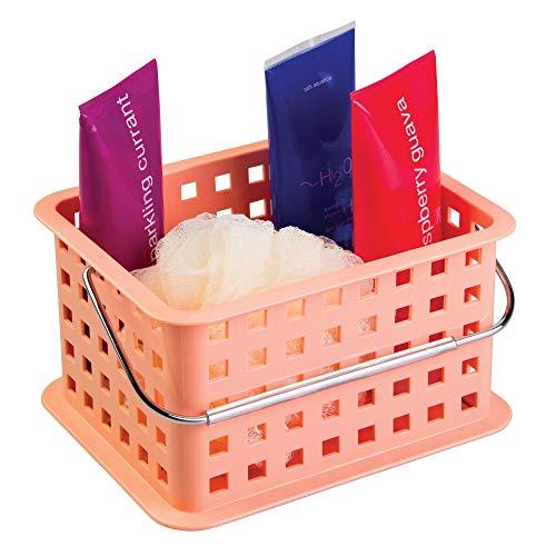 Serie Kleine Rasierer (iDesign Basic Aufbewahrungkorb, kleiner Badkorb aus Kunststoff für Dusch- und Pflegezubehör, koralle)