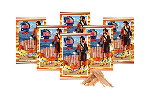 Pazifischer Kabeljau Jerky - Original (6 x 36g Pack) Natur Snack getrocknet & gesalzen I Low Carb I High Protein I Fitness Snack I Trockenfisch reich an Omega 3 I für Männer & Frauen -