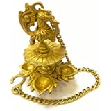Crafthut Traditional Peacock 4 In 1 Brass Hanging Diya With 16 Inch Chain   Deepak   Oil Lamp   Home Décor   Spritiual Gift