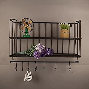 Deko wandregal iron industrial style wand h ngen regal for Wandregal wohnzimmer deko