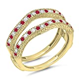 DazzlingRock Collection  -  14 Kt  Gelbgold Rundschliff   Getöntes Weiß/Top Cape (K) rot Diamant Rubis