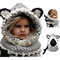 Bonice Enfants Animal Casquette Manteau Tricot Capuche Cagoule hiver en  laine tricotés chapeaux bébé des Filles bbf73a84325