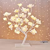 LED Blütenbaum Weiß Rosenbaum Leuchtbaum Weihnachten Lichterbaum warm-weiße LEDs H 45cm