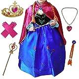 Canberries® Prinzessin Kostüm Kinder Glanz Kleid Mädchen Weihnachten Verkleidung Karneval Party Halloween Fest Set aus Diadem, Handschuhe, Zauberstab,Zopf,Halskette (120, #08 Kleid und Zubehör)