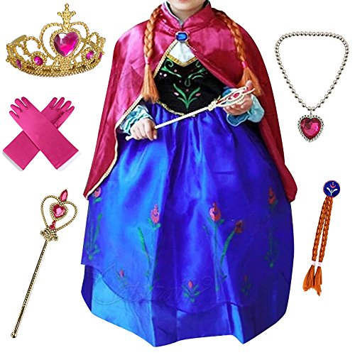 Canberries® Prinzessin Kostüm Kinder Glanz Kleid Mädchen Weihnachten Verkleidung Karneval Party Halloween Fest Set aus Diadem, Handschuhe, Zauberstab,Zopf,Halskette (130, #08 Kleid und Zubehör)