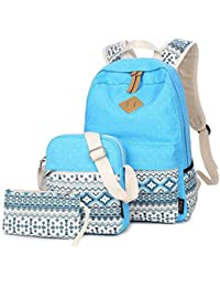 LABABE Canvas Laptop School Backpack Set,Small Messenger Shoulder Bag and Pen Case Pouch -