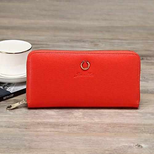 Piccola borsa femminile sezione lunga della Multi-purpose Student Card Zipper Piccole Donne fresco della frizione della borsa ( colore : Nero ) Rosso