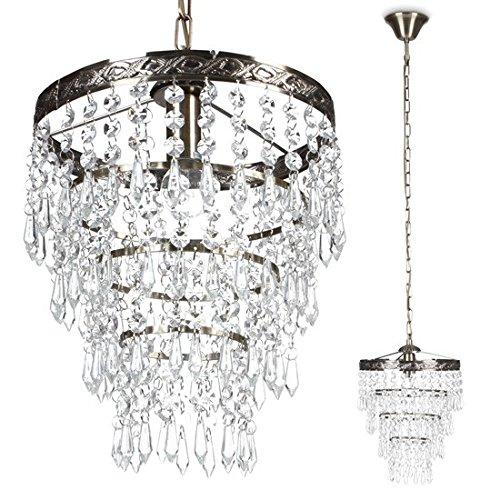 Pendel-Deckenleuchte Amy Kronleuchter Metal antiklook Kristallglas Deckenlampe Hängeleuchte