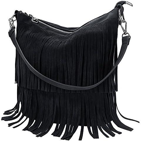 KIPTOP Novedad Moda y Retro bolsos Con flecos de PU Mensajero Bolsos para mujer ocio con estilo muchacha correa ajustable del bolso del bolso del mensajero del