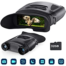 Prismáticos Vision Nocturna, binoculares - Equipo de Caza y vigilancia portátil con visión Nocturna por Infrarrojos Digital de 7x21 con Pantalla Grande(Distancia observable por Infrarrojos 700 Pies)