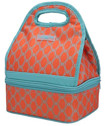 Mier doppio comparto pranzo borse frigo riutilizzabile pranzo tote per donne e bambini, arancione