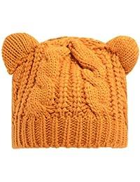 Demarkt 1 Pcs Femme Chapeau d'hiver Tricoté Mignon Oreilles de Chat Beanie Bonnet Crochet Hiver pour Ski Fille Chaleureux Béret Casquette 54-58cm Jaune