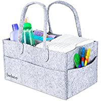 Bonbino Baby Nappy Caddy - Portable Nappy Storage with Changeable Compartments. Baby Diaper Caddy Organiser & Nursery Organiser for Nappies and Baby Wipes - Grey Nursery Storage Bin