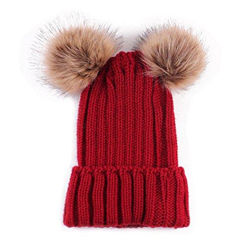 MIOIM Mutter & Neugeborenes Baby Mütze Strickmütz Winter Warm Hüte Beanie für Baby Mädchen Jungen und Damen mit Pelz Bommel