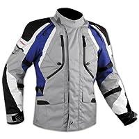 Giacca Offroad Enduro Moto Turismo Impermeabile Tessuto Protezioni Blu 3XL