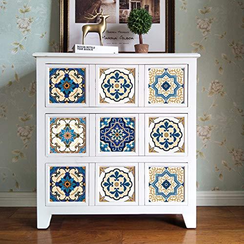 Wilk Wandsticker 20 * 20cm marokkanische Fliesen PVC wasserdicht Selbstklebende Tapeten Möbel Badezimmer Arab Fliesenaufkleber für Wohnzimmer-Bett-Zimmer